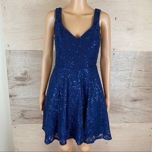 City Triangles Blue Sequined Dress